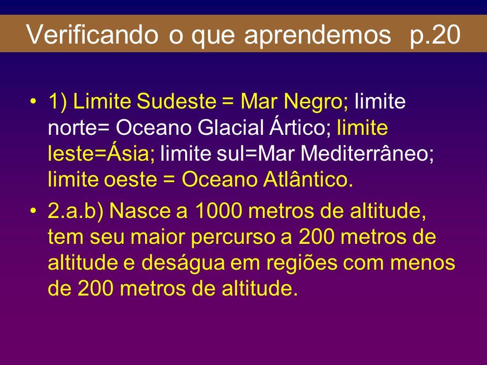 Verificando o que aprendemos p.20 1) Limite Sudeste = Mar Negro; limite norte= Oceano Glacial Ártico; limite leste=Ásia; limite sul=Mar Mediterrâneo;