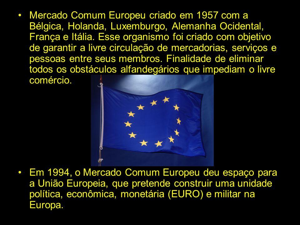 UNIÃO EUROPEIA Mercado Comum Europeu criado em 1957 com a Bélgica, Holanda, Luxemburgo, Alemanha Ocidental, França e Itália. Esse organismo foi criado