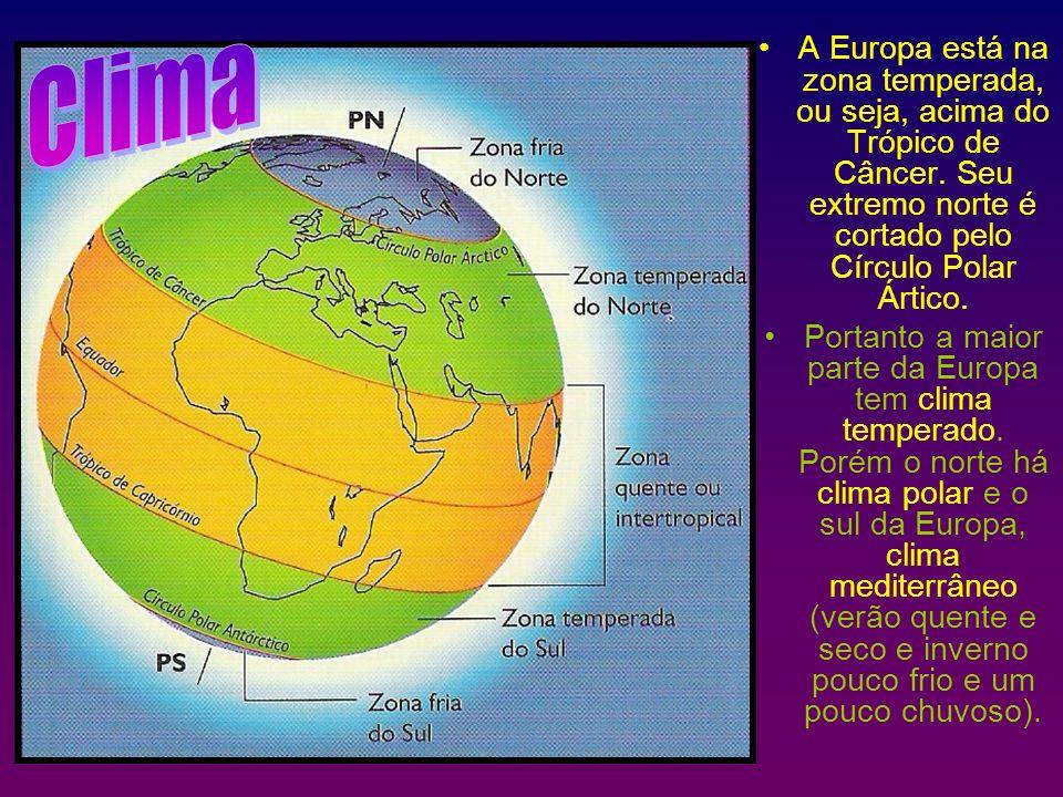 A Europa está na zona temperada, ou seja, acima do Trópico de Câncer. Seu extremo norte é cortado pelo Círculo Polar Ártico. Portanto a maior parte da