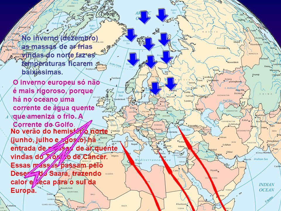 No verão do hemisfério norte (junho, julho e agosto) há entrada de massas de ar quente vindas do Trópico de Câncer. Essas massas passam pelo Deserto d