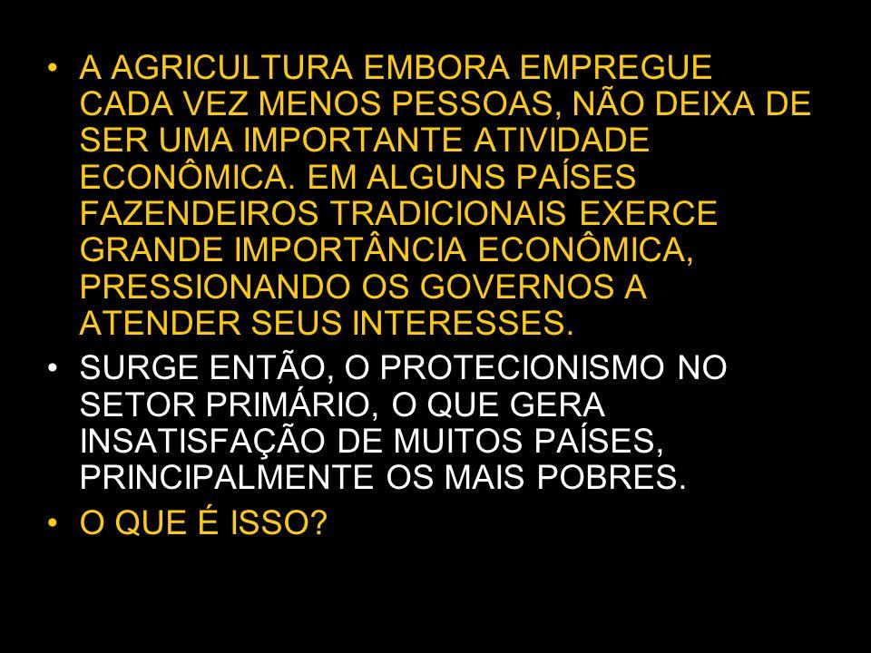 A AGRICULTURA EMBORA EMPREGUE CADA VEZ MENOS PESSOAS, NÃO DEIXA DE SER UMA IMPORTANTE ATIVIDADE ECONÔMICA.