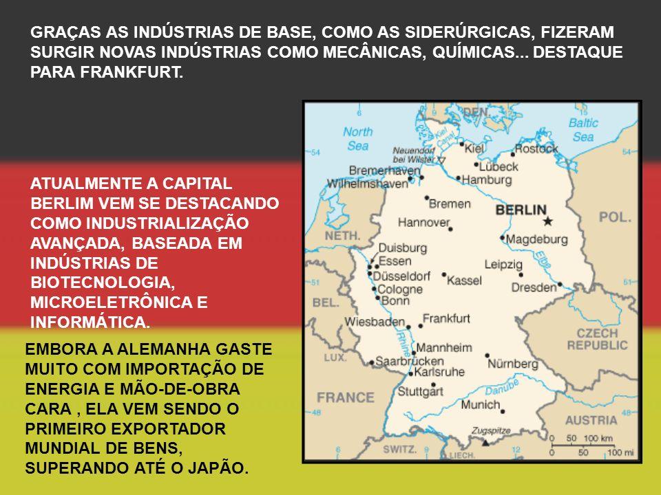 GRAÇAS AS INDÚSTRIAS DE BASE, COMO AS SIDERÚRGICAS, FIZERAM SURGIR NOVAS INDÚSTRIAS COMO MECÂNICAS, QUÍMICAS...