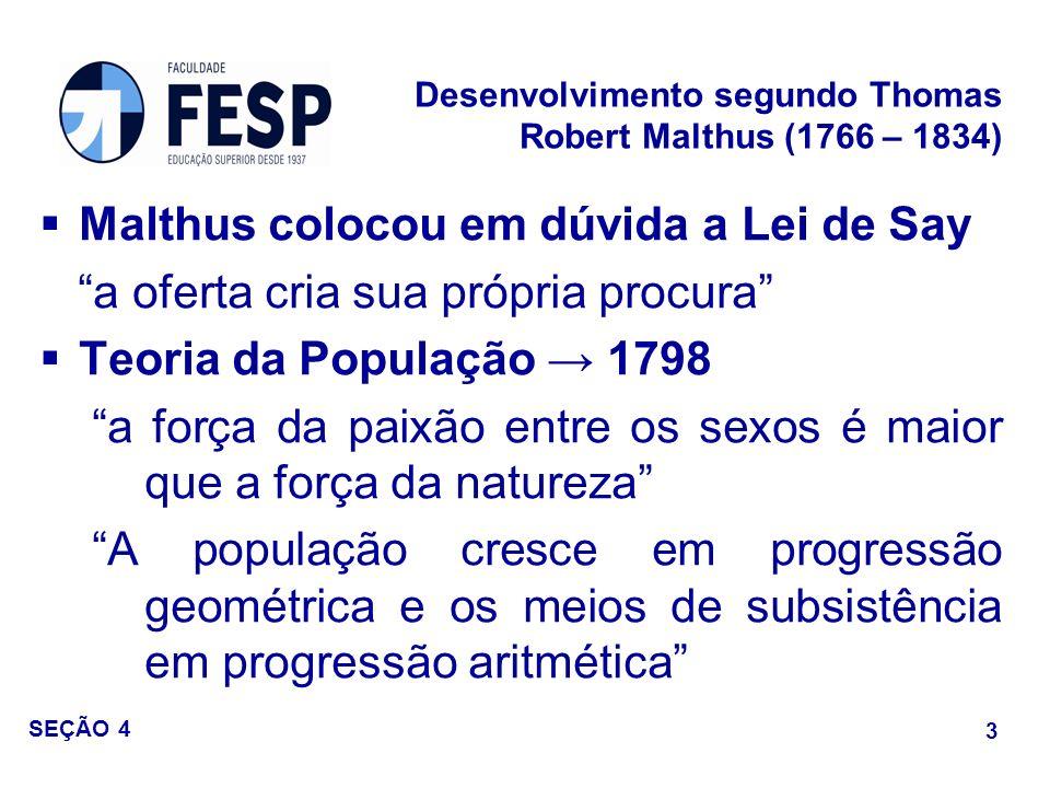 Malthus colocou em dúvida a Lei de Say a oferta cria sua própria procura Teoria da População 1798 a força da paixão entre os sexos é maior que a força