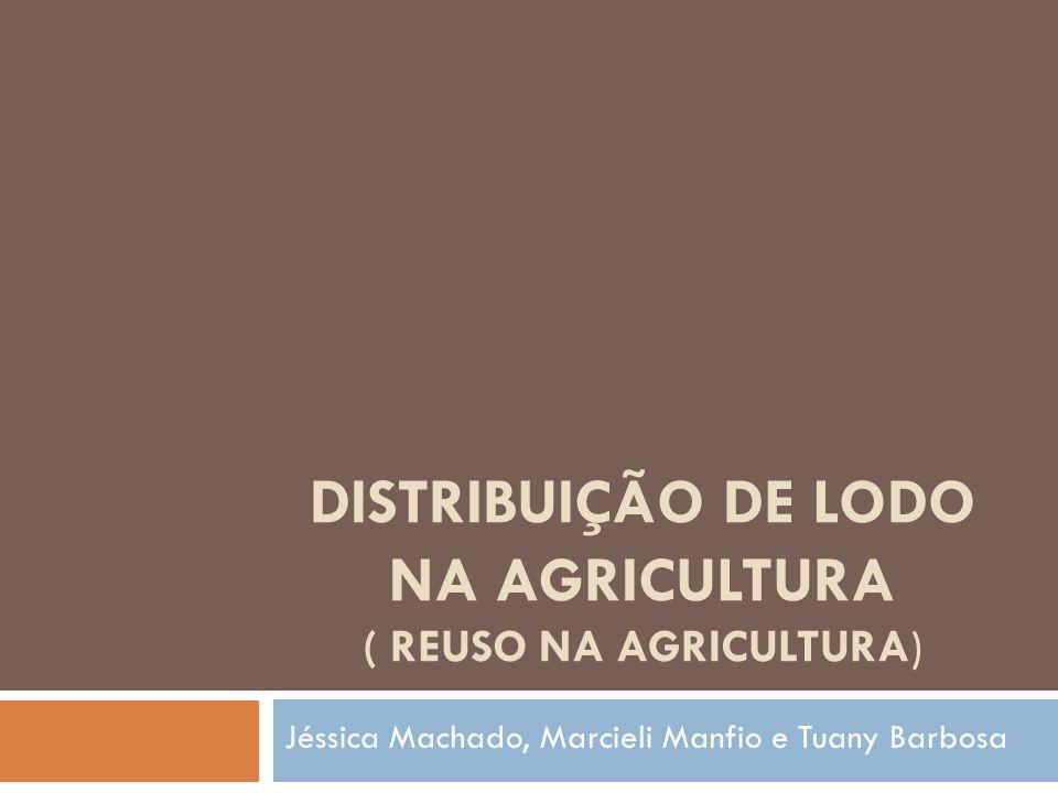 DISTRIBUIÇÃO DE LODO NA AGRICULTURA ( REUSO NA AGRICULTURA) Jéssica Machado, Marcieli Manfio e Tuany Barbosa
