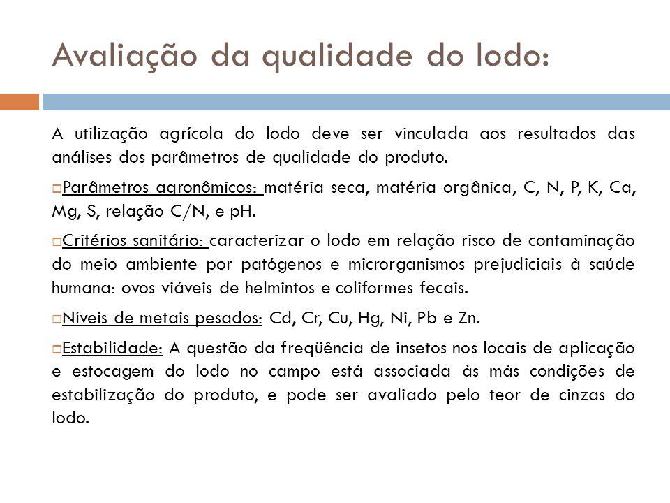 Avaliação da qualidade do lodo: A utilização agrícola do lodo deve ser vinculada aos resultados das análises dos parâmetros de qualidade do produto.