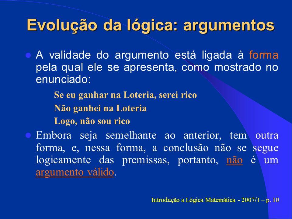 Evolução da lógica: argumentos A validade do argumento está ligada à forma pela qual ele se apresenta, como mostrado no enunciado: Se eu ganhar na Lot