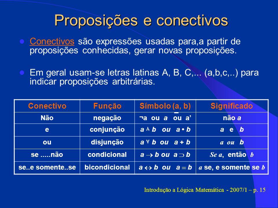 Conectivos são expressões usadas para,a partir de proposições conhecidas, gerar novas proposições. Em geral usam-se letras latinas A, B, C,... (a,b,c,