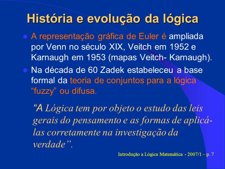 História e evolução da lógica A representação gráfica de Euler é ampliada por Venn no século XIX, Veitch em 1952 e Karnaugh em 1953 (mapas Veitch- Kar