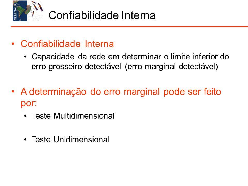 Confiabilidade Interna Capacidade da rede em determinar o limite inferior do erro grosseiro detectável (erro marginal detectável) A determinação do erro marginal pode ser feito por: Teste Multidimensional Teste Unidimensional Confiabilidade Interna