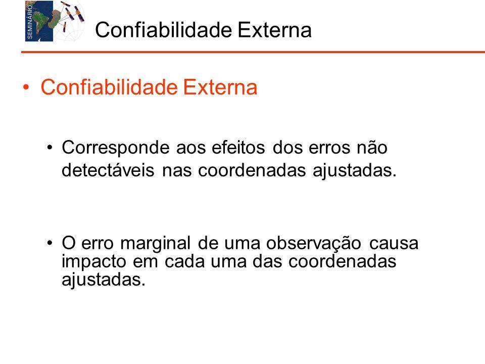 Confiabilidade Externa Corresponde aos efeitos dos erros não detectáveis nas coordenadas ajustadas. O erro marginal de uma observação causa impacto em