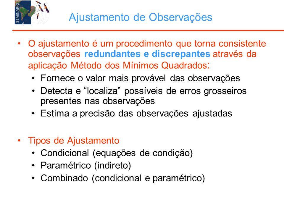 O ajustamento é um procedimento que torna consistente observações redundantes e discrepantes através da aplicação Método dos Mínimos Quadrados : Fornece o valor mais provável das observações Detecta e localiza possíveis de erros grosseiros presentes nas observações Estima a precisão das observações ajustadas Tipos de Ajustamento Condicional (equações de condição) Paramétrico (indireto) Combinado (condicional e paramétrico)
