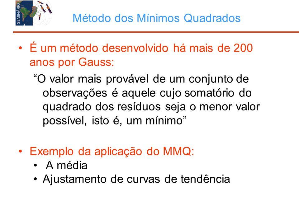 Método dos Mínimos Quadrados É um método desenvolvido há mais de 200 anos por Gauss: O valor mais provável de um conjunto de observações é aquele cujo somatório do quadrado dos resíduos seja o menor valor possível, isto é, um mínimo Exemplo da aplicação do MMQ: A média Ajustamento de curvas de tendência
