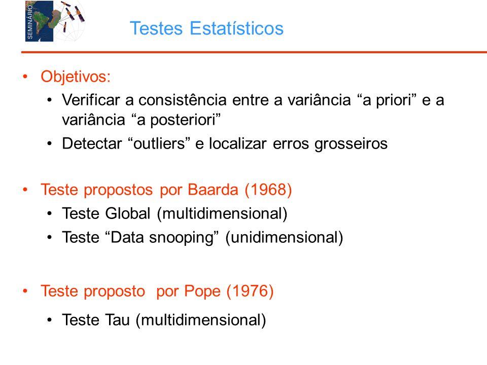 Objetivos: Verificar a consistência entre a variância a priori e a variância a posteriori Detectar outliers e localizar erros grosseiros Teste propostos por Baarda (1968) Teste Global (multidimensional) Teste Data snooping (unidimensional) Teste proposto por Pope (1976) Teste Tau (multidimensional) Testes Estatísticos