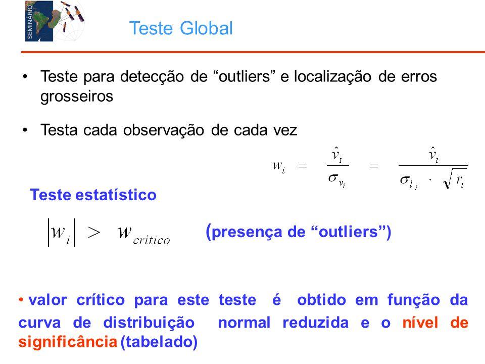 Teste para detecção de outliers e localização de erros grosseiros Testa cada observação de cada vez Teste Global Teste estatístico ( presença de outliers) valor crítico para este teste é obtido em função da curva de distribuição normal reduzida e o nível de significância (tabelado)