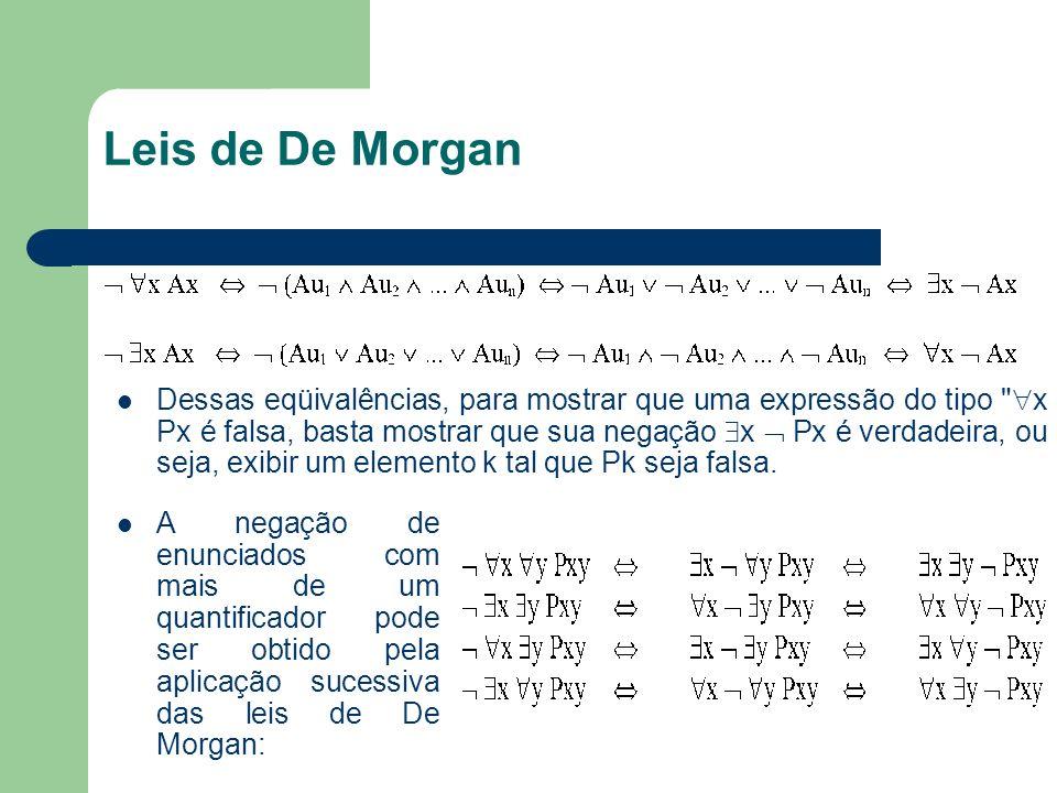 Leis de De Morgan Dessas eqüivalências, para mostrar que uma expressão do tipo
