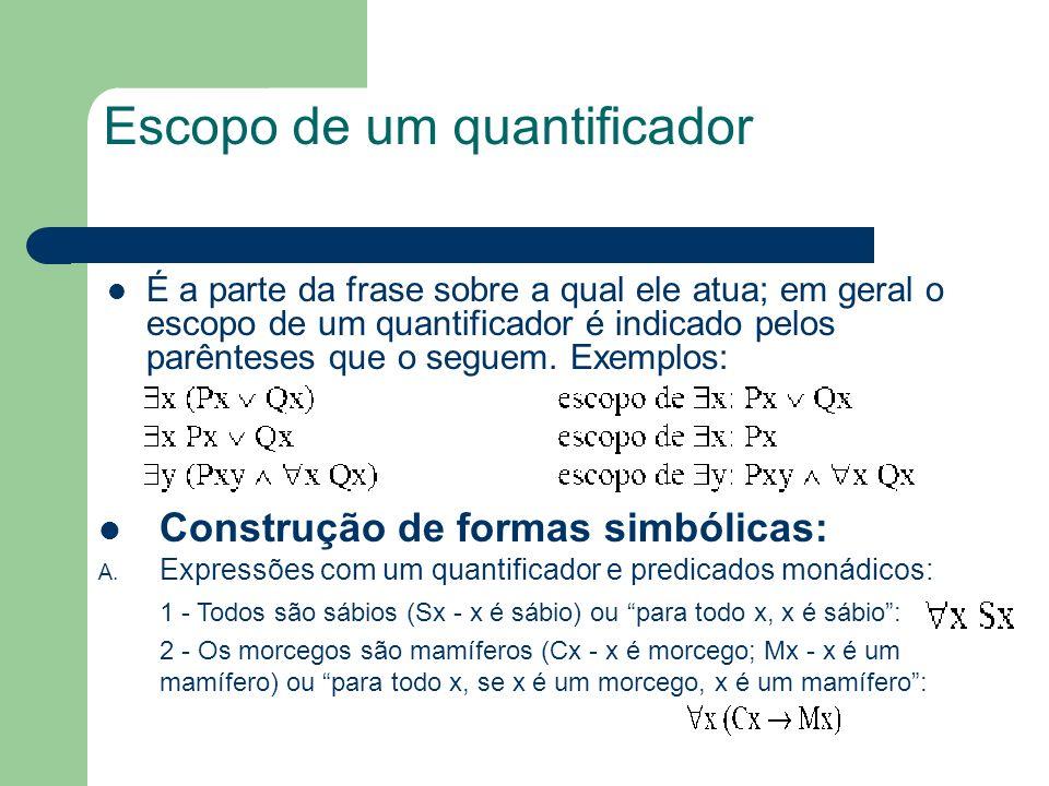 Escopo de um quantificador É a parte da frase sobre a qual ele atua; em geral o escopo de um quantificador é indicado pelos parênteses que o seguem. E
