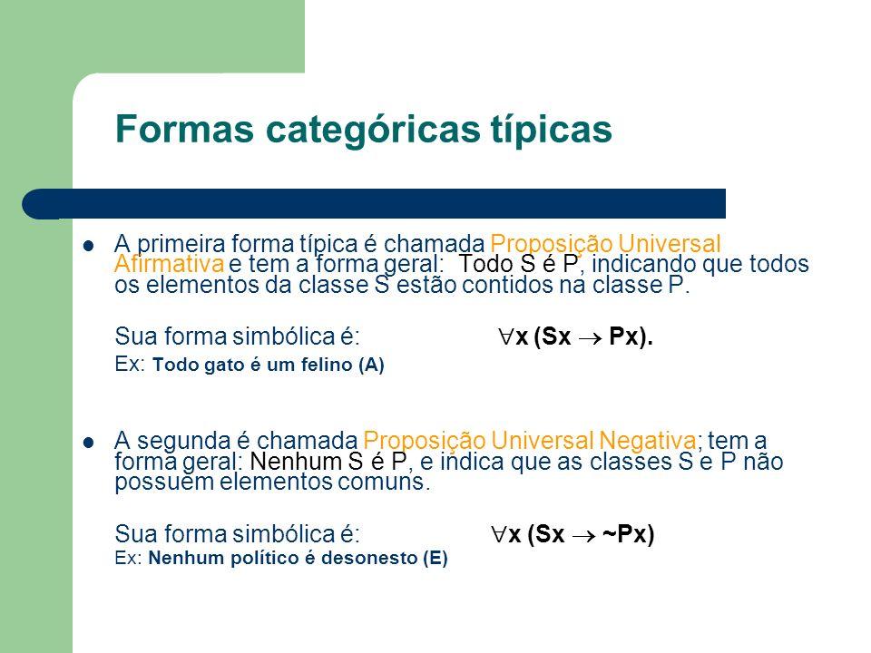 Formas categóricas típicas A primeira forma típica é chamada Proposição Universal Afirmativa e tem a forma geral: Todo S é P, indicando que todos os e