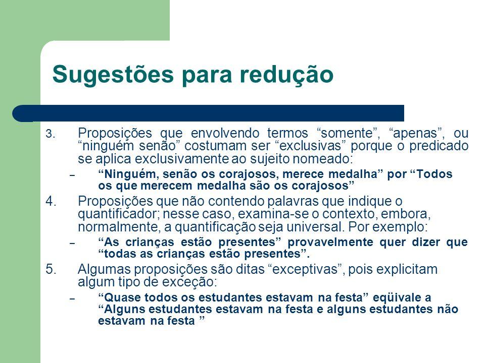 Sugestões para redução 3.Proposições que envolvendo termos somente, apenas, ou ninguém senão costumam ser exclusivas porque o predicado se aplica excl
