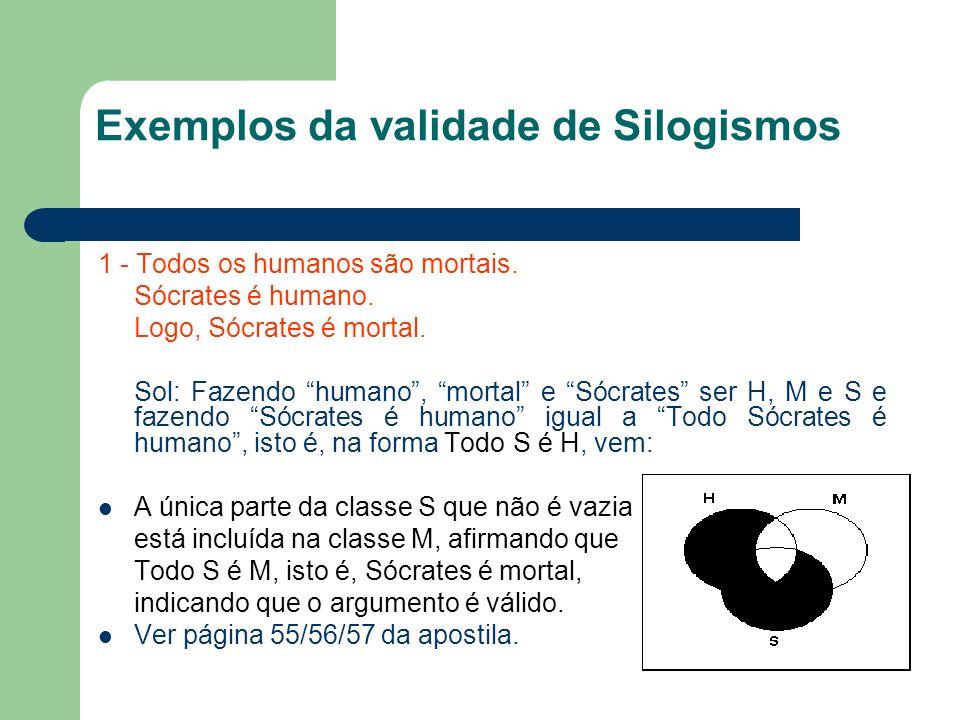 Exemplos da validade de Silogismos 1 - Todos os humanos são mortais. Sócrates é humano. Logo, Sócrates é mortal. Sol: Fazendo humano, mortal e Sócrate