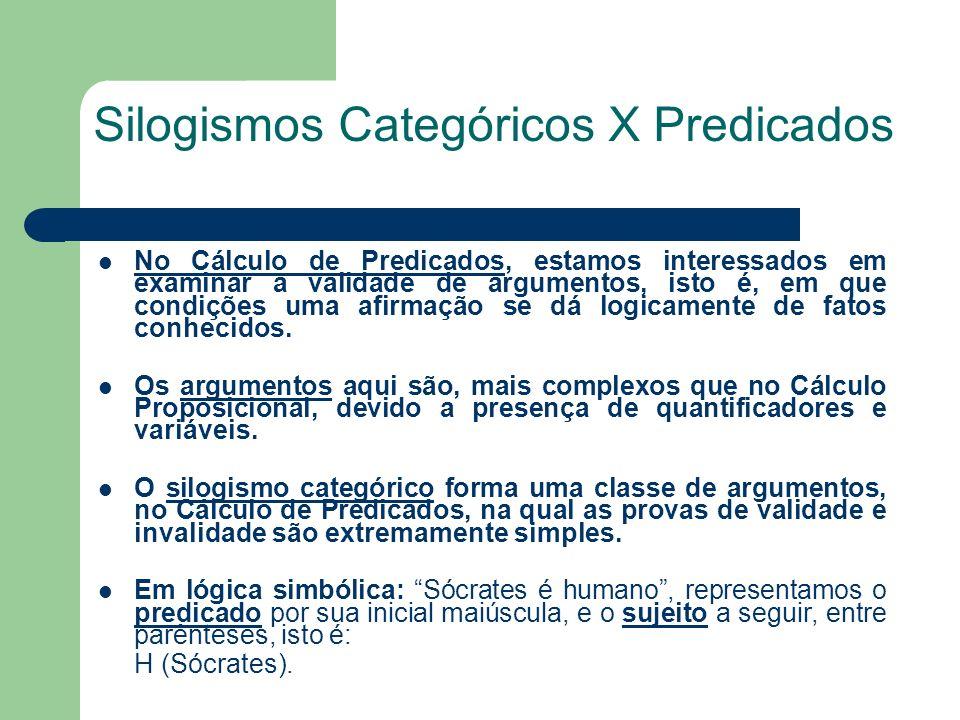 Silogismos Categóricos X Predicados No Cálculo de Predicados, estamos interessados em examinar a validade de argumentos, isto é, em que condições uma