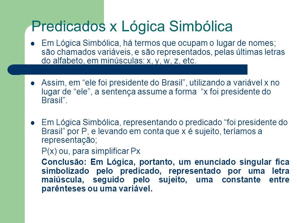Predicados x Lógica Simbólica Em Lógica Simbólica, há termos que ocupam o lugar de nomes; são chamados variáveis, e são representados, pelas últimas l
