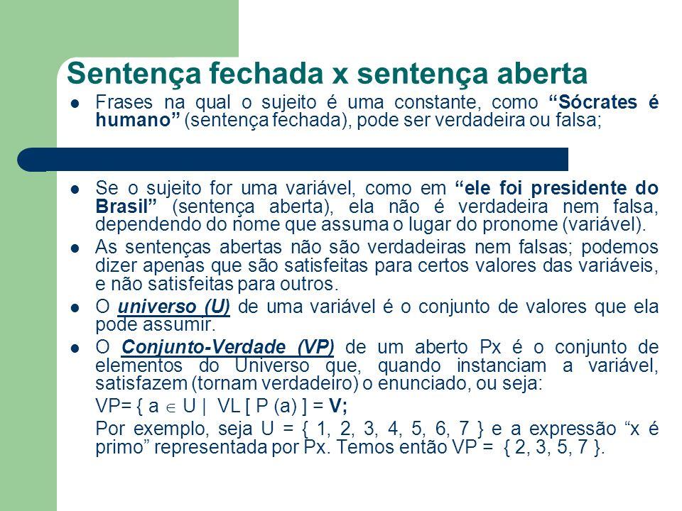 Sentença fechada x sentença aberta Frases na qual o sujeito é uma constante, como Sócrates é humano (sentença fechada), pode ser verdadeira ou falsa;