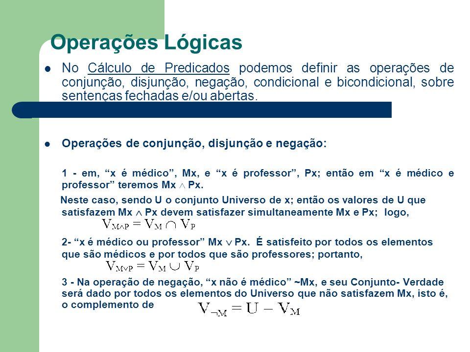 Operações Lógicas No Cálculo de Predicados podemos definir as operações de conjunção, disjunção, negação, condicional e bicondicional, sobre sentenças