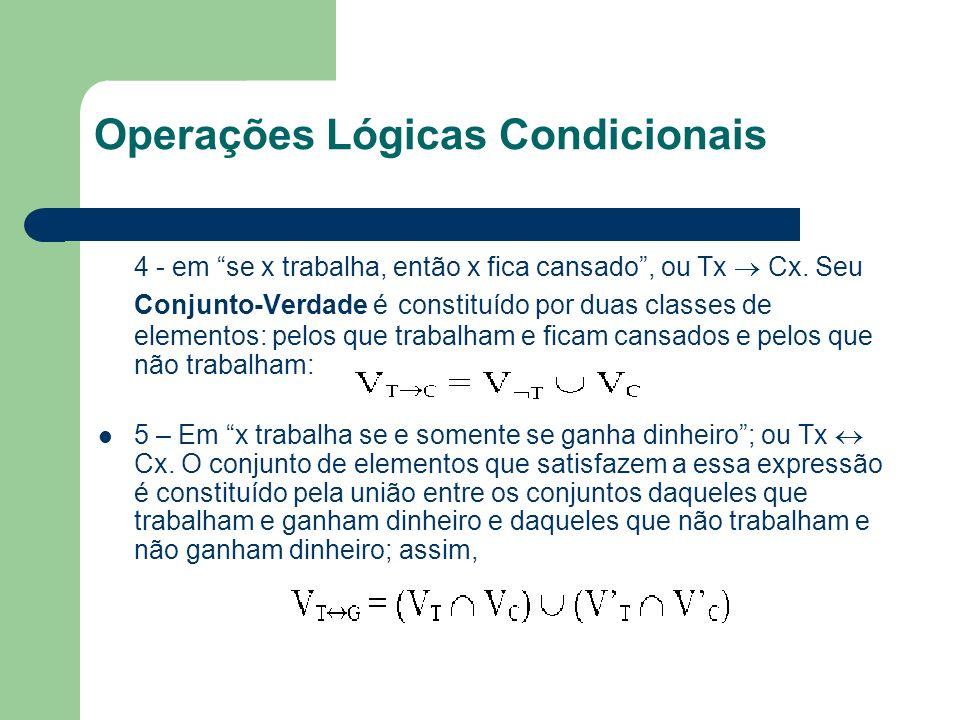 Operações Lógicas Condicionais 4 - em se x trabalha, então x fica cansado, ou Tx Cx. Seu Conjunto-Verdade é constituído por duas classes de elementos: