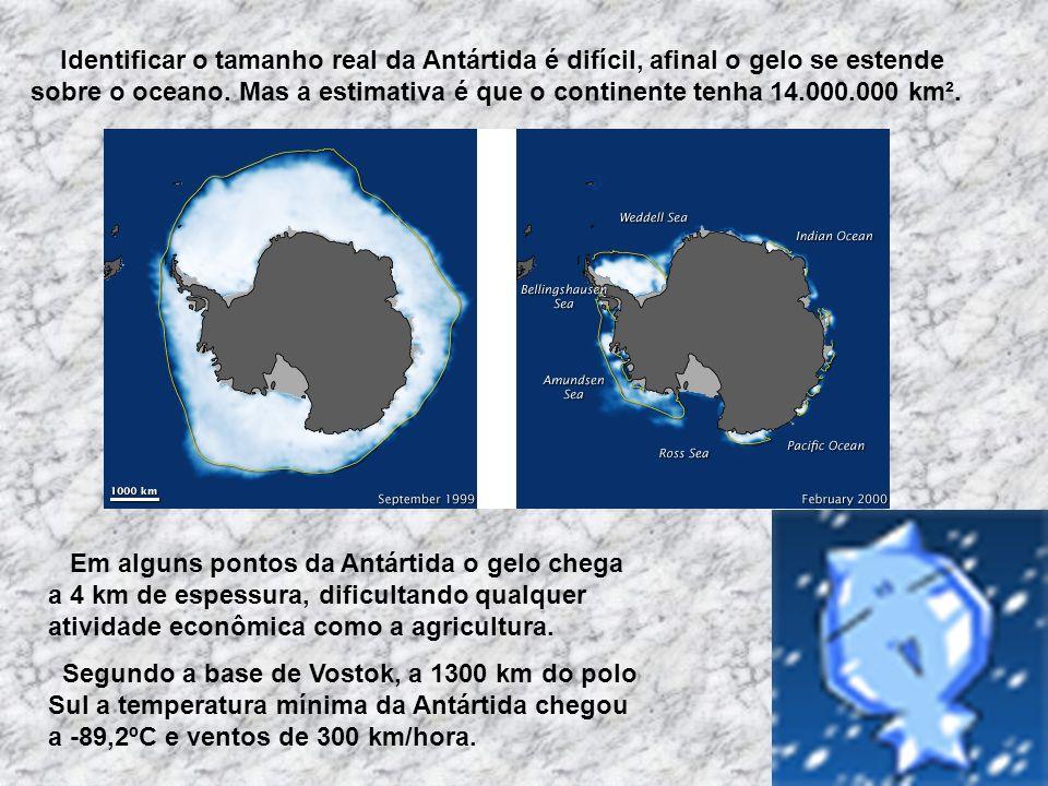 Identificar o tamanho real da Antártida é difícil, afinal o gelo se estende sobre o oceano. Mas a estimativa é que o continente tenha 14.000.000 km².