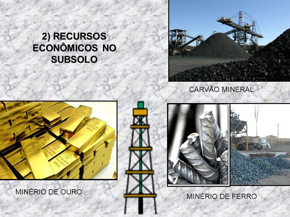 CARVÃO MINERAL MINÉRIO DE FERRO MINÉRIO DE OURO 2) RECURSOS ECONÔMICOS NO SUBSOLO