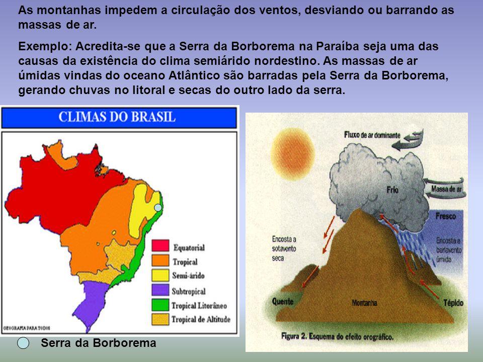 Serra da Borborema As montanhas impedem a circulação dos ventos, desviando ou barrando as massas de ar. Exemplo: Acredita-se que a Serra da Borborema