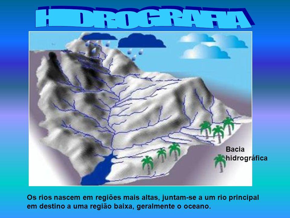 Os rios nascem em regiões mais altas, juntam-se a um rio principal em destino a uma região baixa, geralmente o oceano. Bacia hidrográfica
