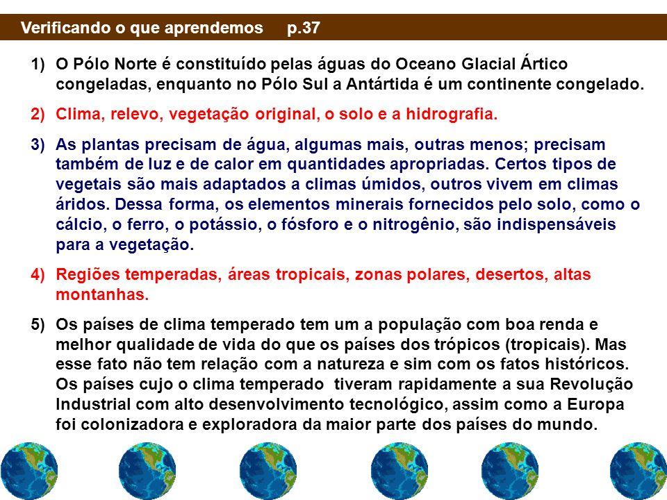 Verificando o que aprendemos p.37 1)O Pólo Norte é constituído pelas águas do Oceano Glacial Ártico congeladas, enquanto no Pólo Sul a Antártida é um
