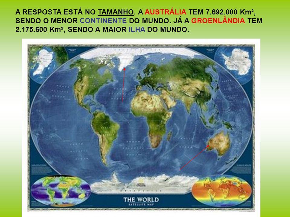 A RESPOSTA ESTÁ NO TAMANHO. A AUSTRÁLIA TEM 7.692.000 Km², SENDO O MENOR CONTINENTE DO MUNDO. JÁ A GROENLÂNDIA TEM 2.175.600 Km², SENDO A MAIOR ILHA D