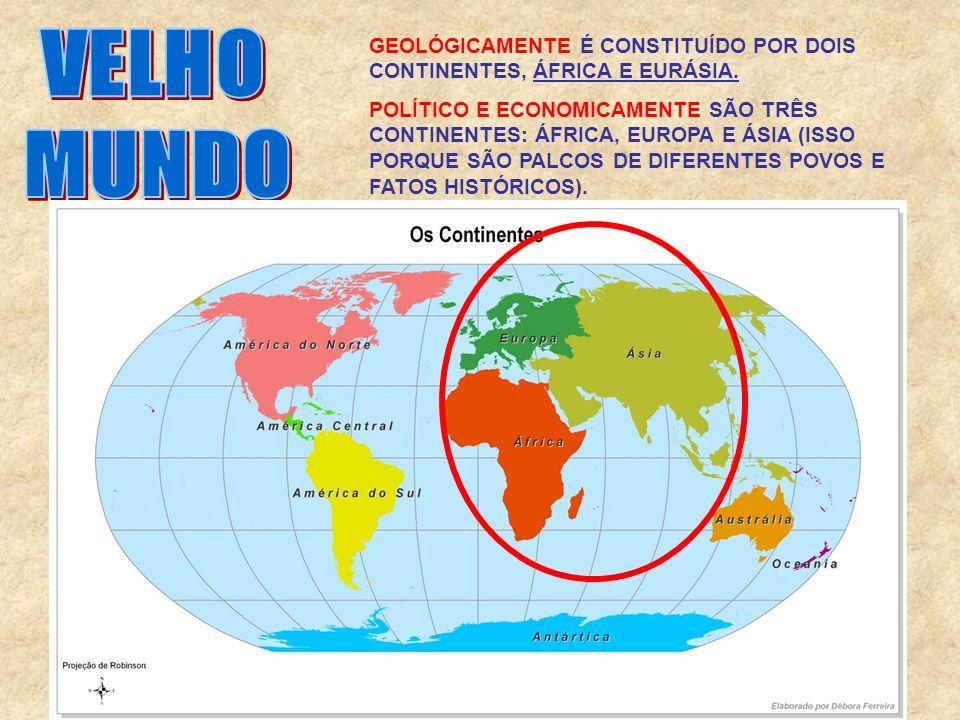 GEOLÓGICAMENTE É CONSTITUÍDO POR DOIS CONTINENTES, ÁFRICA E EURÁSIA. POLÍTICO E ECONOMICAMENTE SÃO TRÊS CONTINENTES: ÁFRICA, EUROPA E ÁSIA (ISSO PORQU