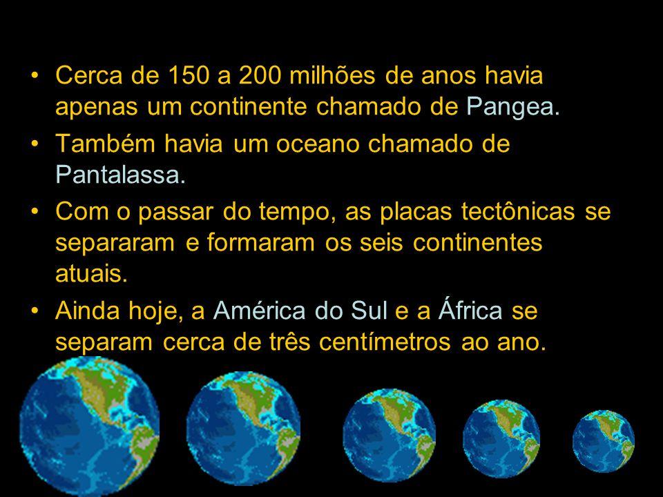 Cerca de 150 a 200 milhões de anos havia apenas um continente chamado de Pangea. Também havia um oceano chamado de Pantalassa. Com o passar do tempo,