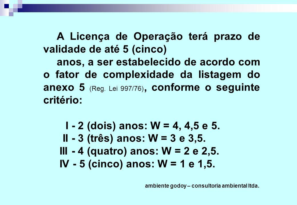 A Licença de Operação terá prazo de validade de até 5 (cinco) anos, a ser estabelecido de acordo com o fator de complexidade da listagem do anexo 5 (Reg.