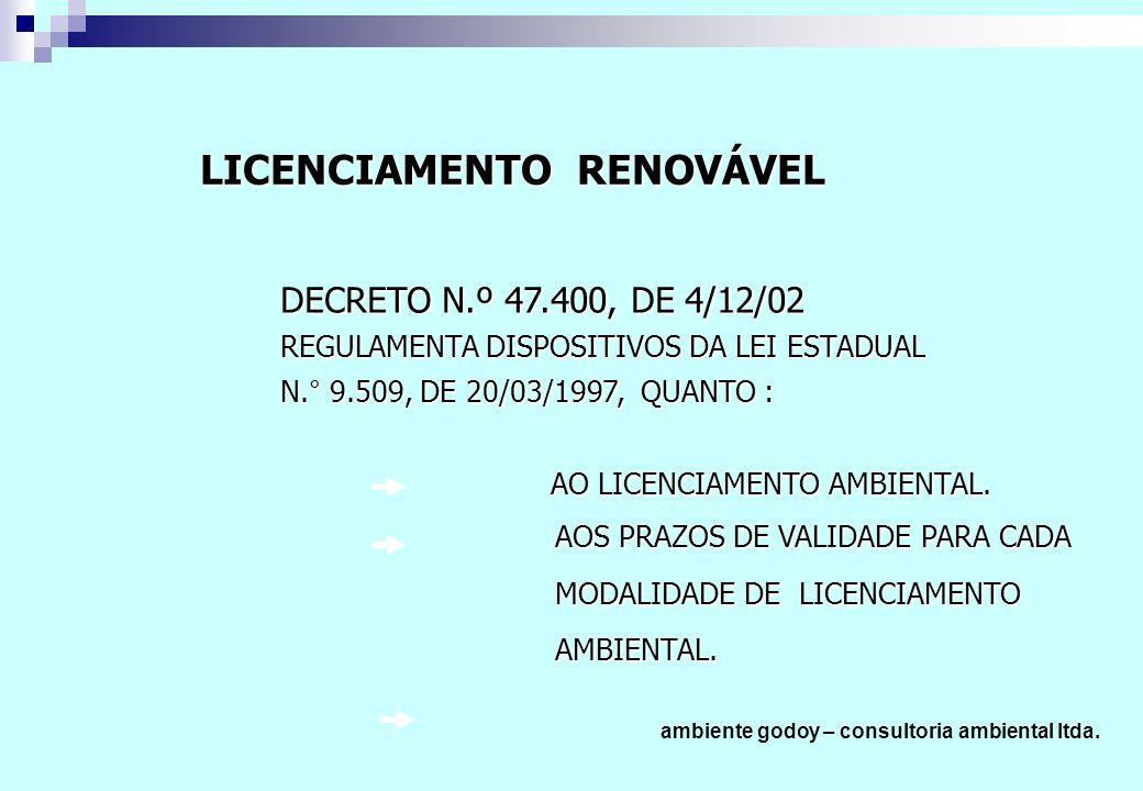 DECRETO N.º 47.400, DE 4/12/02 REGULAMENTA DISPOSITIVOS DA LEI ESTADUAL N.° 9.509, DE 20/03/1997, QUANTO : AO LICENCIAMENTO AMBIENTAL.