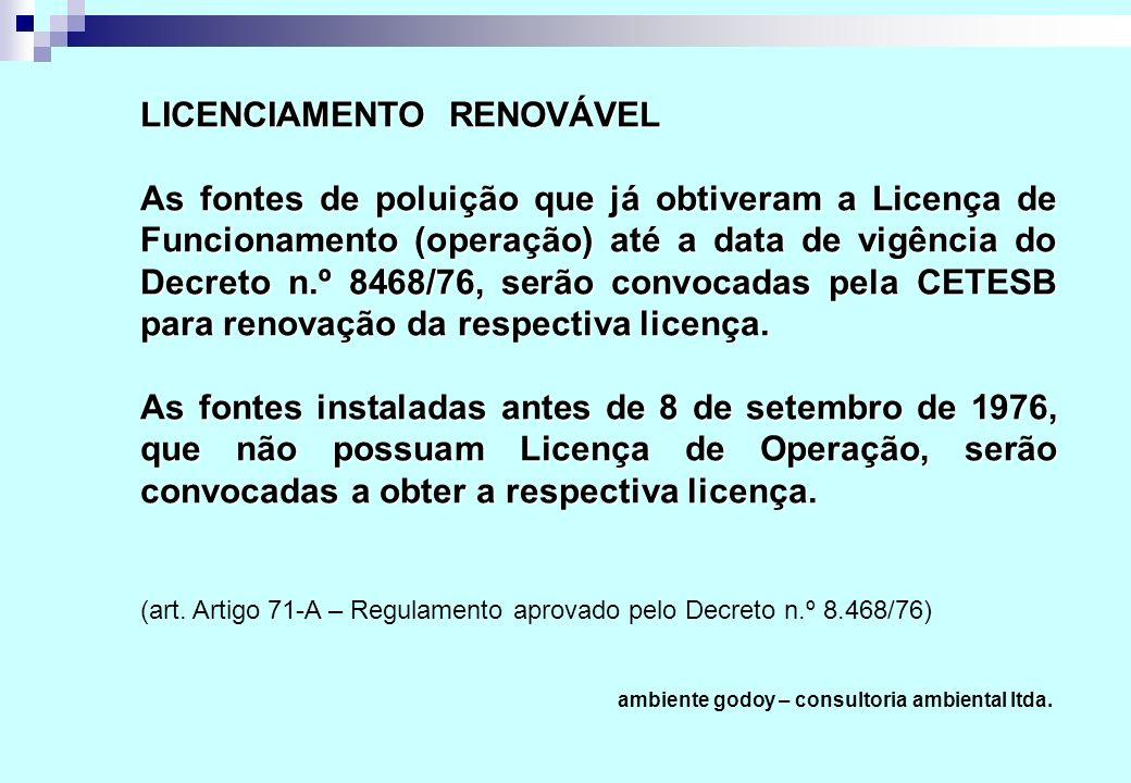 As fontes de poluição que já obtiveram a Licença de Funcionamento (operação) até a data de vigência do Decreto n.º 8468/76, serão convocadas pela CETESB para renovação da respectiva licença.