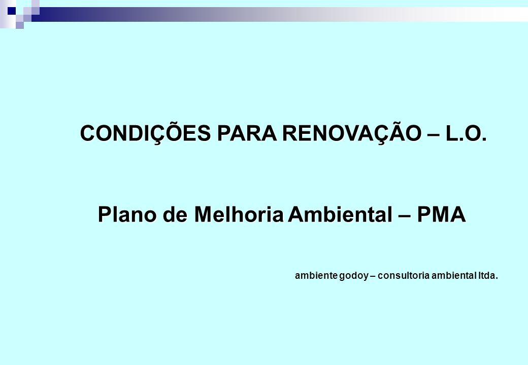 CONDIÇÕES PARA RENOVAÇÃO – L.O. Plano de Melhoria Ambiental – PMA Plano de Melhoria Ambiental – PMA ambiente godoy – consultoria ambiental ltda.