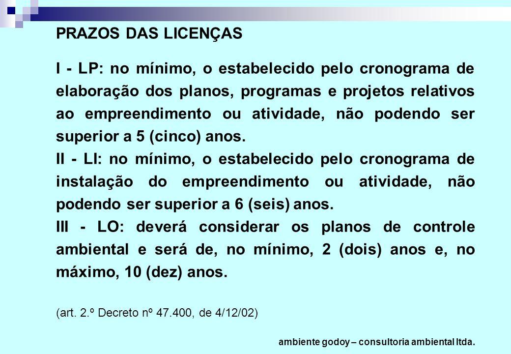 PRAZOS DAS LICENÇAS I - LP: no mínimo, o estabelecido pelo cronograma de elaboração dos planos, programas e projetos relativos ao empreendimento ou at
