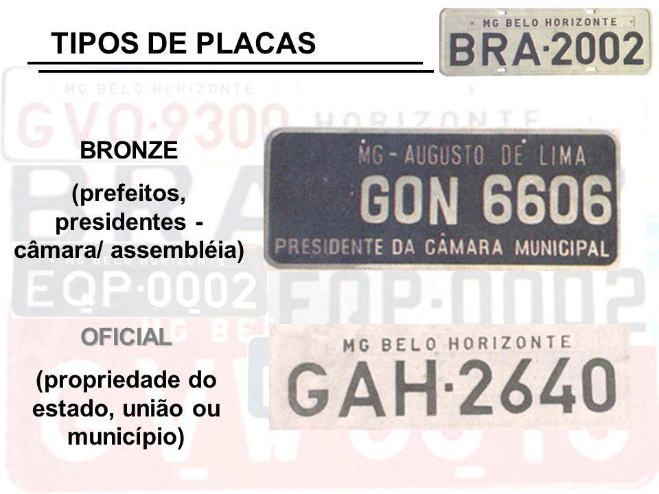 TIPOS DE PLACAS OFICIAL (propriedade do estado, união ou município) BRONZE (prefeitos, presidentes - câmara/ assembléia)