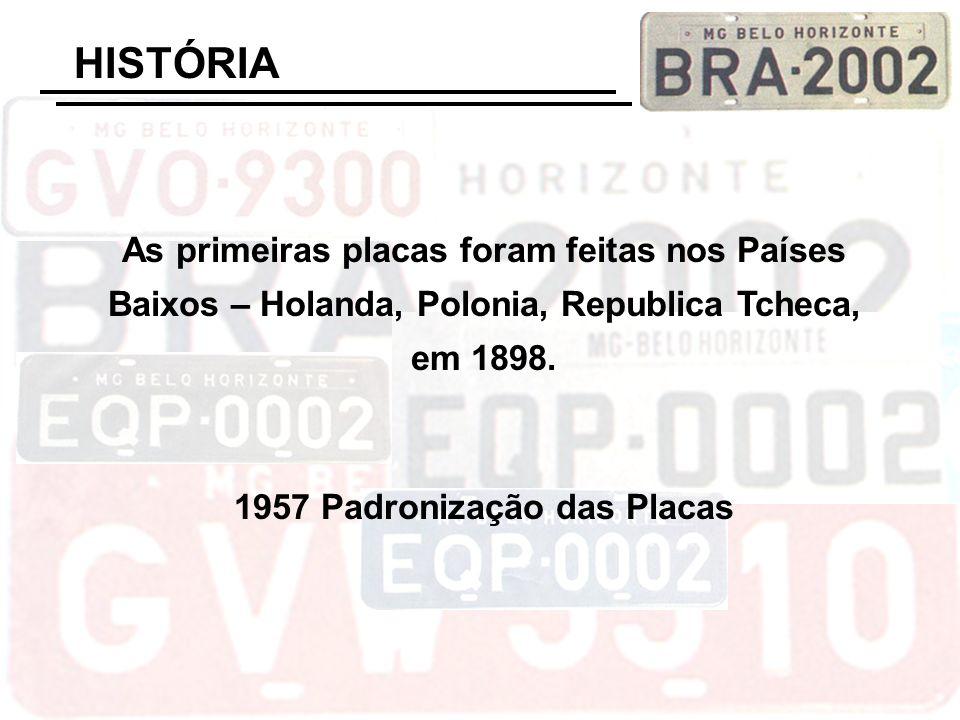 As primeiras placas foram feitas nos Países Baixos – Holanda, Polonia, Republica Tcheca, em 1898. 1957 Padronização das Placas HISTÓRIA