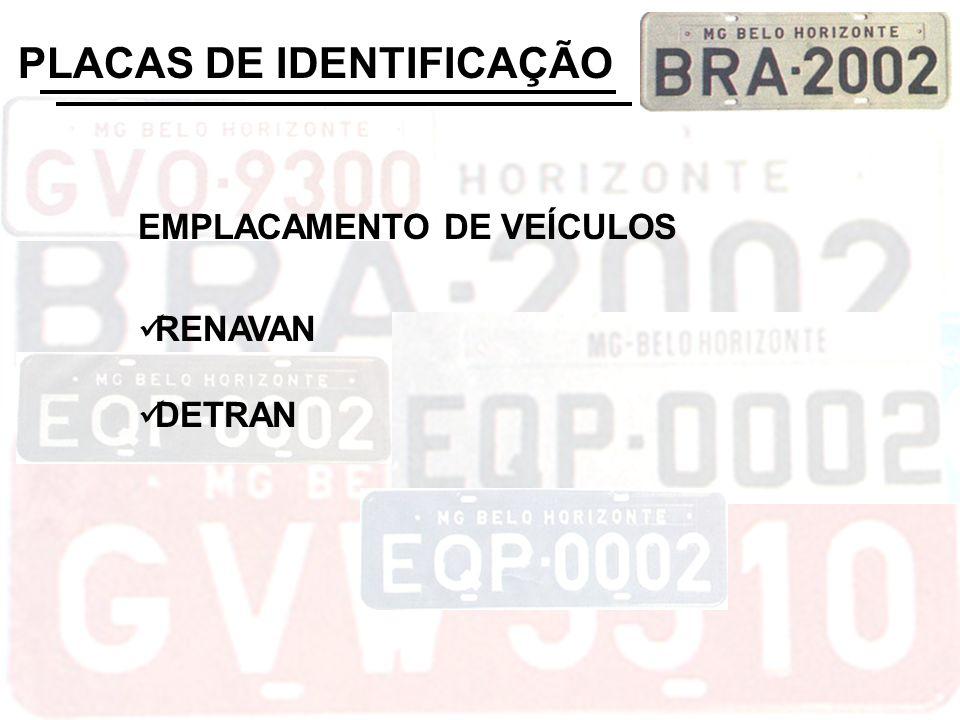 EMPLACAMENTO DE VEÍCULOS RENAVAN DETRAN PLACAS DE IDENTIFICAÇÃO
