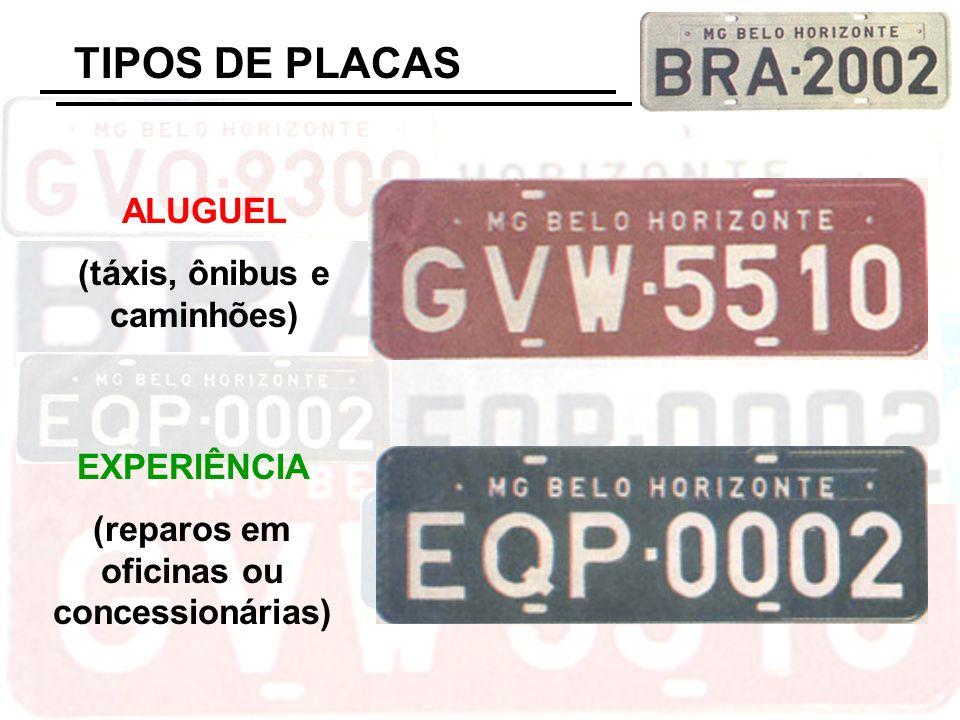 TIPOS DE PLACAS ALUGUEL (táxis, ônibus e caminhões) EXPERIÊNCIA (reparos em oficinas ou concessionárias)