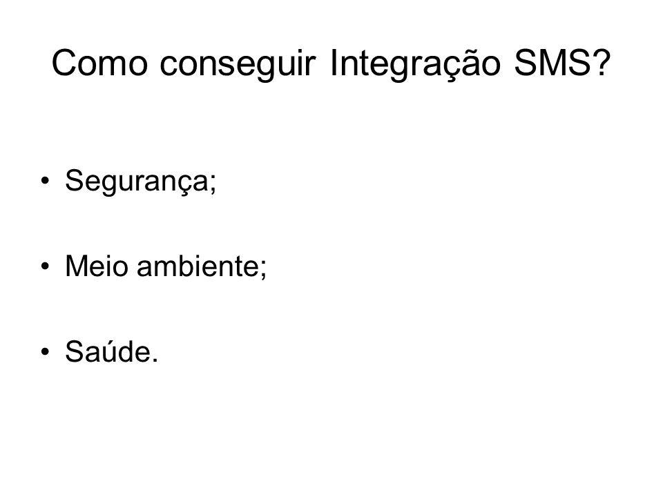 Como conseguir Integração SMS? Segurança; Meio ambiente; Saúde.