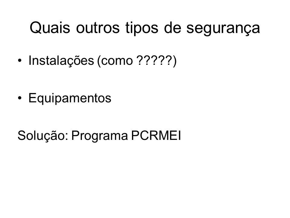 Quais outros tipos de segurança Instalações (como ?????) Equipamentos Solução: Programa PCRMEI