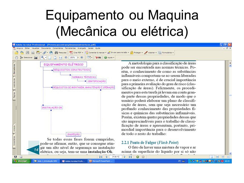 Equipamento ou Maquina (Mecânica ou elétrica)
