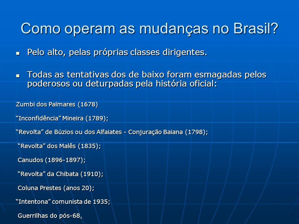 Como operam as mudanças no Brasil.Pelo alto, pelas próprias classes dirigentes.