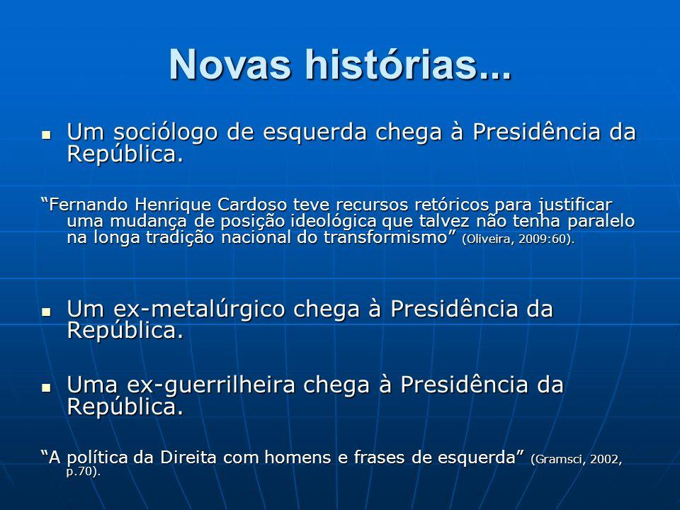Novas histórias...Um sociólogo de esquerda chega à Presidência da República.